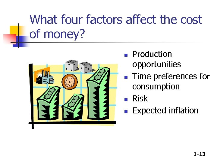 What four factors affect the cost of money? n n Production opportunities Time preferences