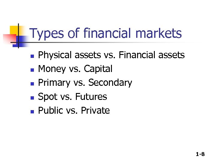 Types of financial markets n n n Physical assets vs. Financial assets Money vs.