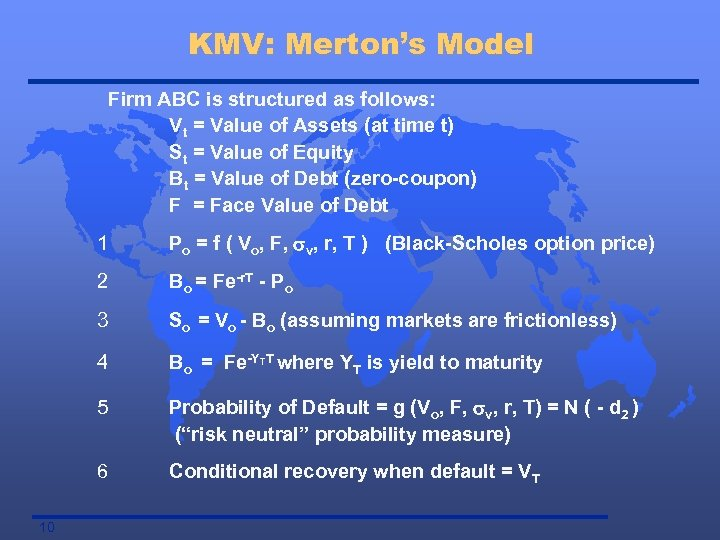 KMV: Merton's Model Firm ABC is structured as follows: Vt = Value of Assets