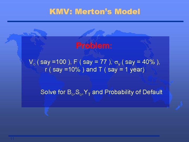 KMV: Merton's Model Problem: Vo ( say =100 ), F ( say = 77
