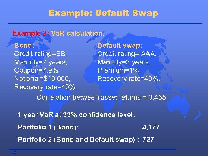 Example: Default Swap Example 2: Va. R calculation. Bond: Default swap: Credit rating=BB, Credit