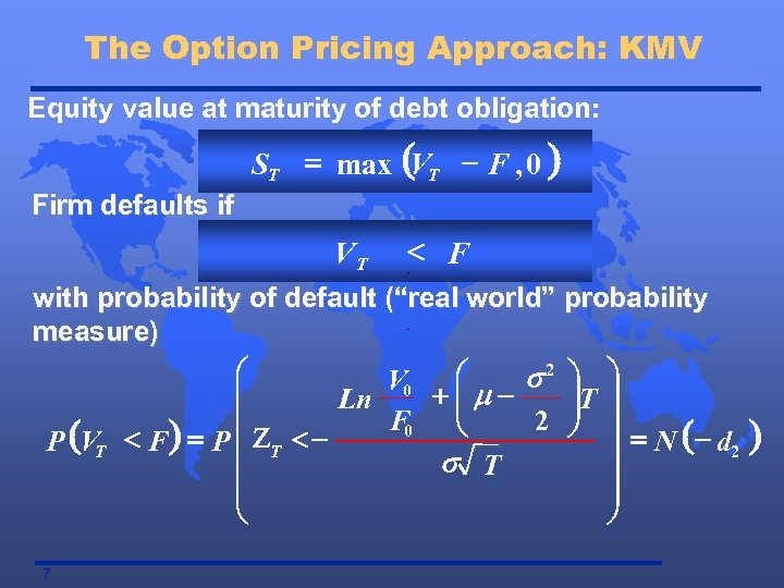 The Option Pricing Approach: KMV Equity value at maturity of debt obligation: ST =