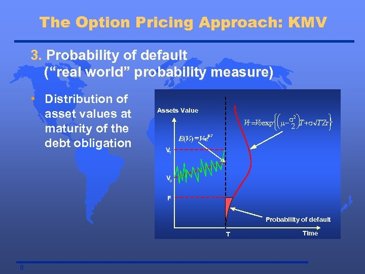 "The Option Pricing Approach: KMV 3. Probability of default (""real world"" probability measure) •"