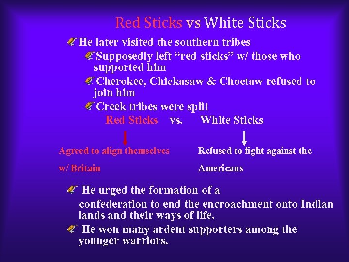 "Red Sticks vs White Sticks He later visited the southern tribes Supposedly left ""red"