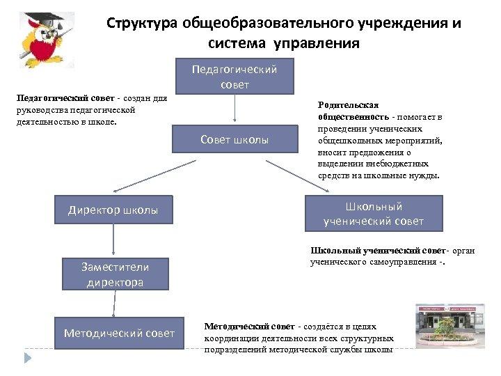 Структура общеобразовательного учреждения и система управления Педагогический совет - создан для руководства педагогической деятельностью