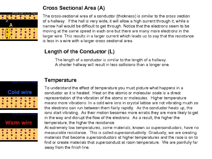 Cross Sectional Area (A) The cross-sectional area of a conductor (thickness) is similar to