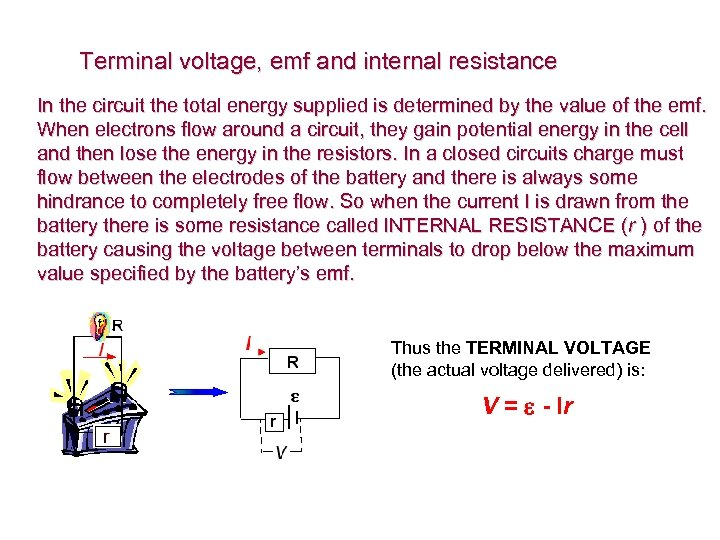 Terminal voltage, emf and internal resistance In the circuit the total energy supplied is