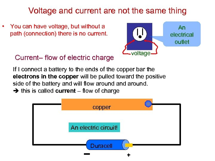Voltage and current are not the same thing • You can have voltage, but