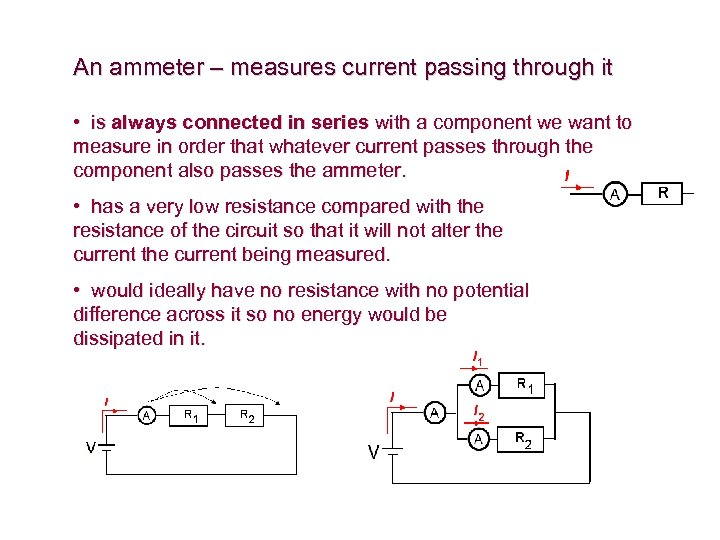 An ammeter – measures current passing through it • is always connected in series