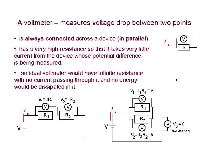A voltmeter – measures voltage drop between two points • is always connected across