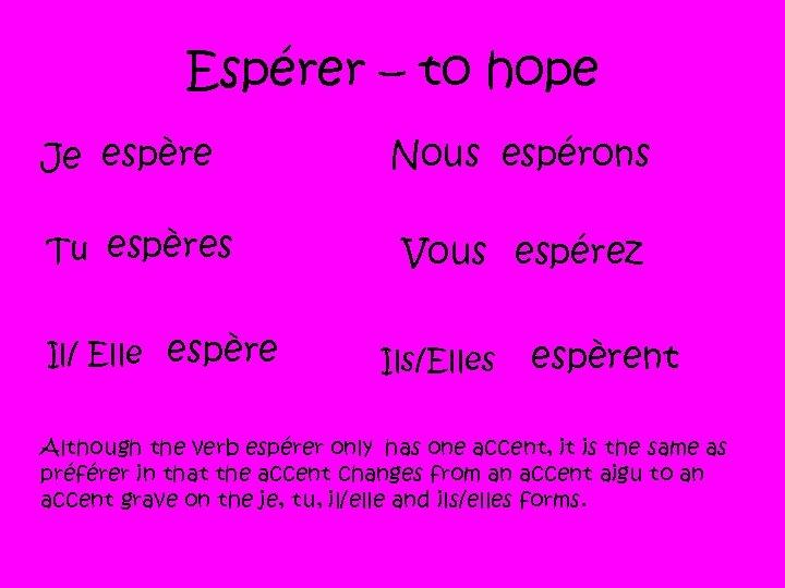 Espérer – to hope Je espère Tu espères Il/ Elle espère Nous espérons Vous