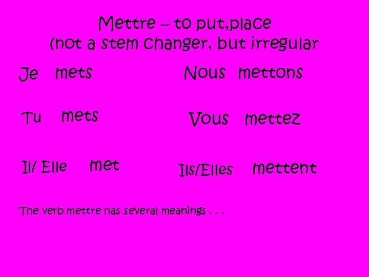 Mettre – to put, place (not a stem changer, but irregular Je Tu mets