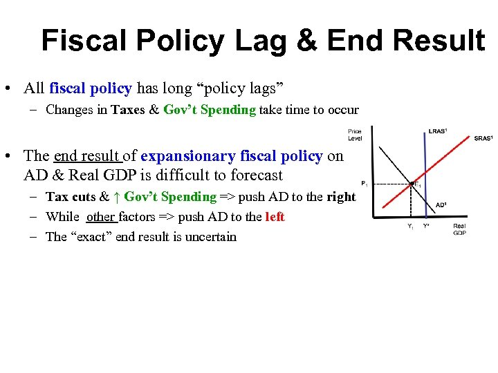 """Fiscal Policy Lag & End Result • All fiscal policy has long """"policy lags"""""""