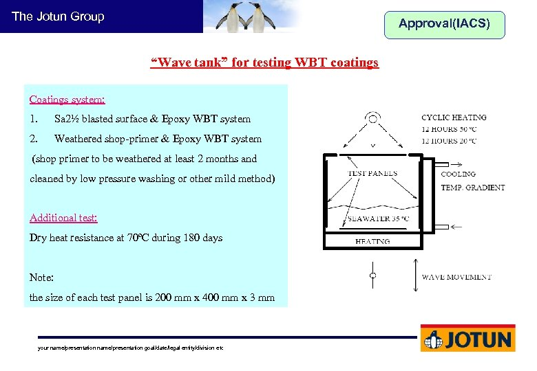 """The Jotun Group Approval(IACS) """"Wave tank"""" for testing WBT coatings Coatings system: 1. Sa"""