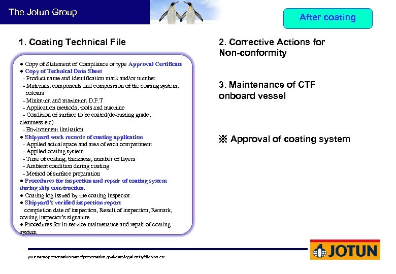 The Jotun Group 1. Coating Technical File ● Copy of Statement of Compliance or