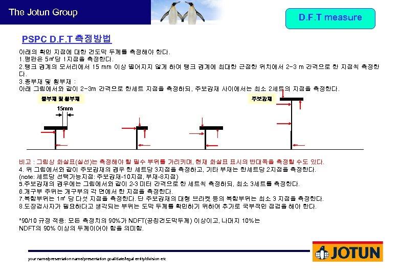 The Jotun Group D. F. T measure PSPC D. F. T 측정방법 아래의 확인
