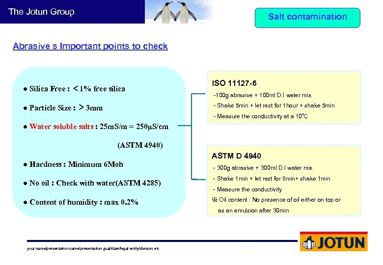 The Jotun Group Salt contamination Abrasive s Important points to check ● Silica Free