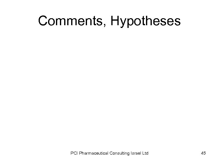 Comments, Hypotheses PCI Pharmaceutical Consulting Israel Ltd 45