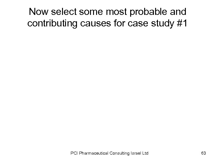 Now select some most probable and contributing causes for case study #1 PCI Pharmaceutical
