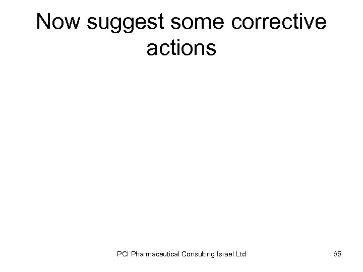 Now suggest some corrective actions PCI Pharmaceutical Consulting Israel Ltd 65