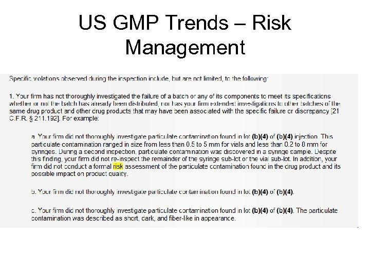 US GMP Trends – Risk Management