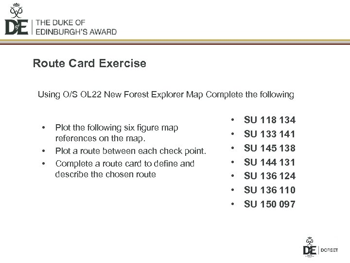 Route Card Exercise Using O/S OL 22 New Forest Explorer Map Complete the following