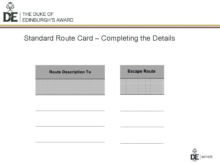 Standard Route Card – Completing the Details