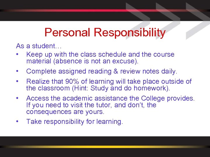 Personal Responsibility As a student… • Keep up with the class schedule and the