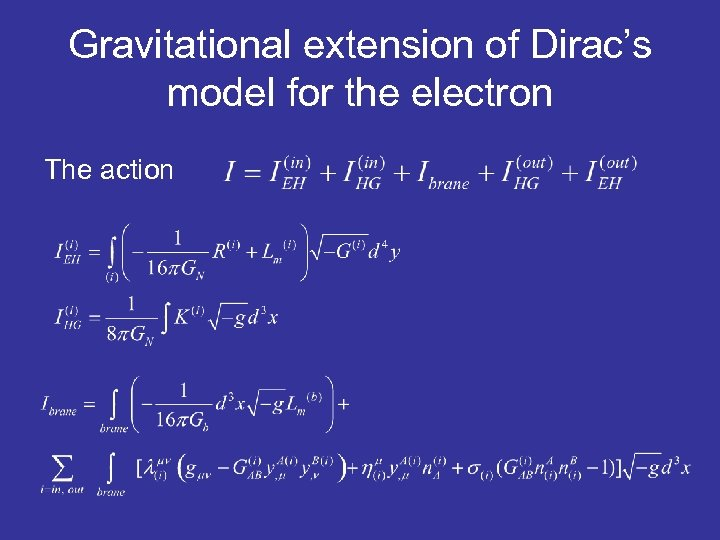 Gravitational extension of Dirac's model for the electron The action
