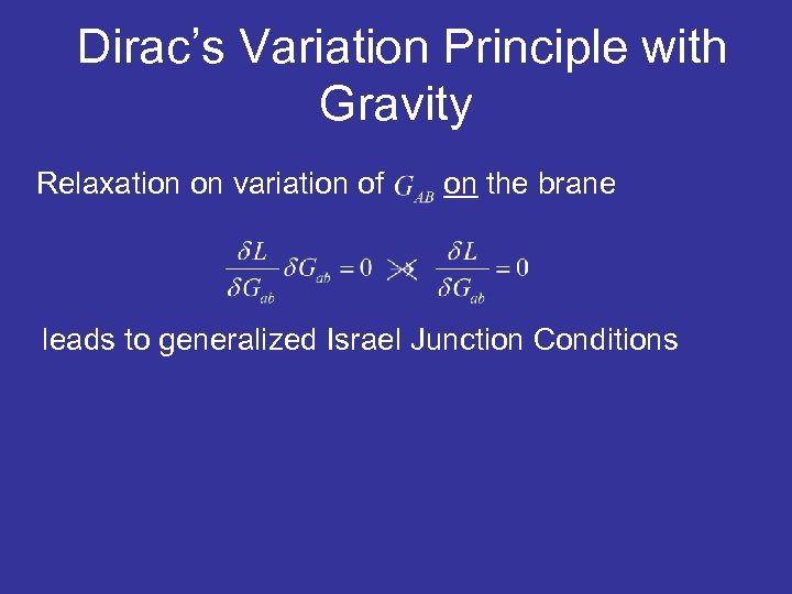 Dirac's Variation Principle with Gravity Relaxation on variation of on the brane leads to