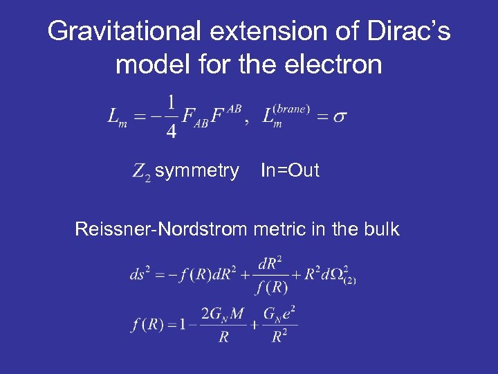 Gravitational extension of Dirac's model for the electron symmetry In=Out Reissner-Nordstrom metric in the