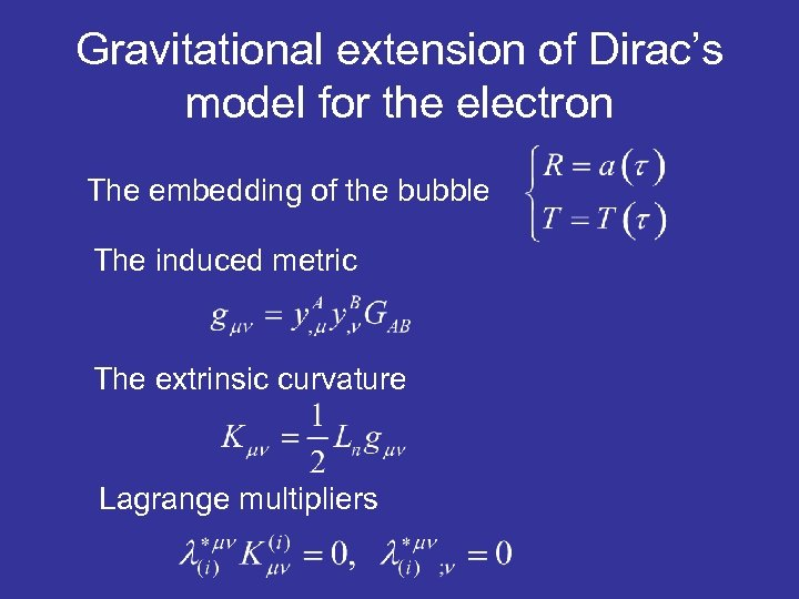 Gravitational extension of Dirac's model for the electron The embedding of the bubble The