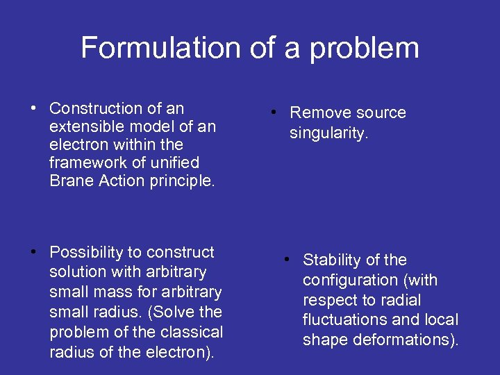 Formulation of a problem • Construction of an extensible model of an electron within
