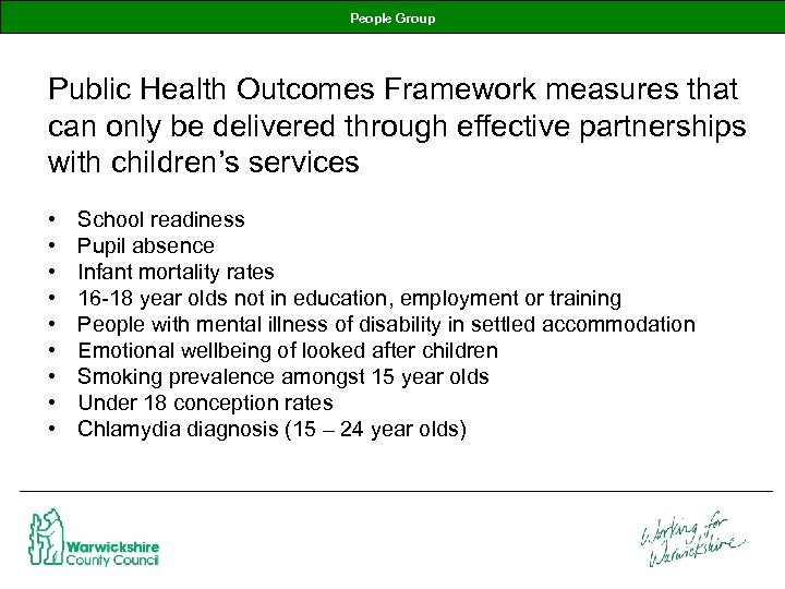 People Group Public Health Outcomes Framework measures that can only be delivered through effective