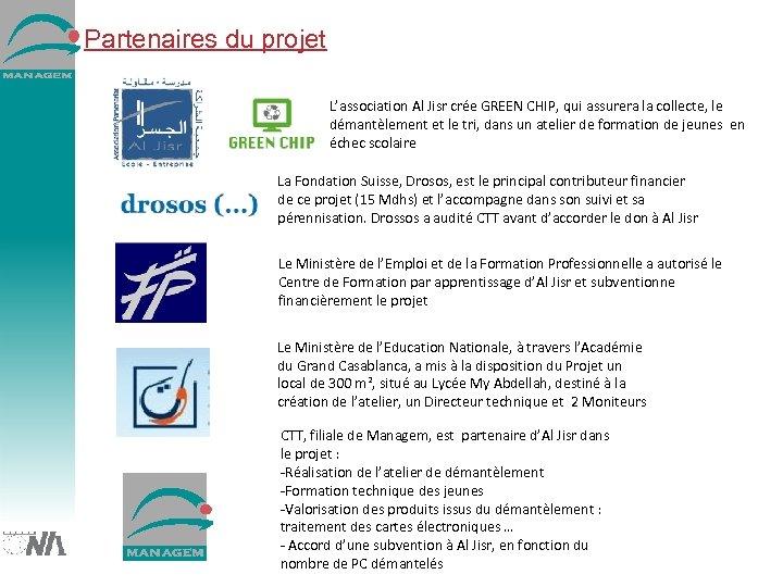 Partenaires du projet L'association Al Jisr crée GREEN CHIP, qui assurera la collecte, le
