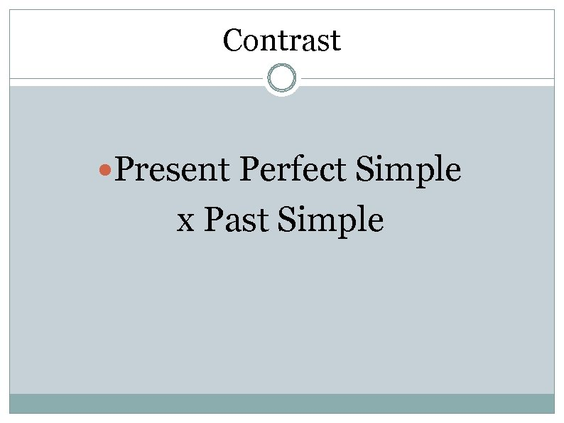 Contrast Present Perfect Simple x Past Simple