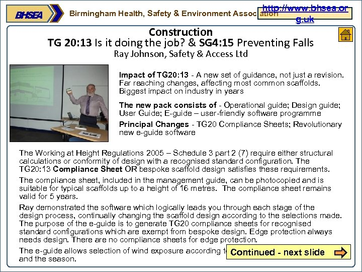 http: //www. bhsea. or g. uk Birmingham Health, Safety & Environment Association Construction TG