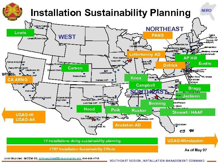 Installation Sustainability Planning Yakima Training Center Lewis Umatilla Chem Depot NORTHEAST PANG WEST Detroit