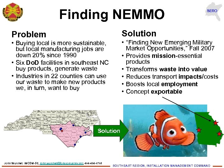 """Finding NEMMO SERO Solution Problem • """"Finding New Emerging Military Market Opportunities, """" Fall"""