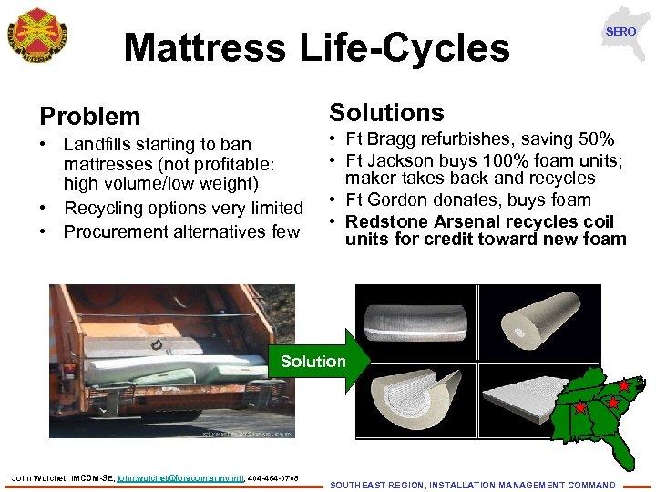 Mattress Life-Cycles SERO Solutions Problem • Landfills starting to ban mattresses (not profitable: high