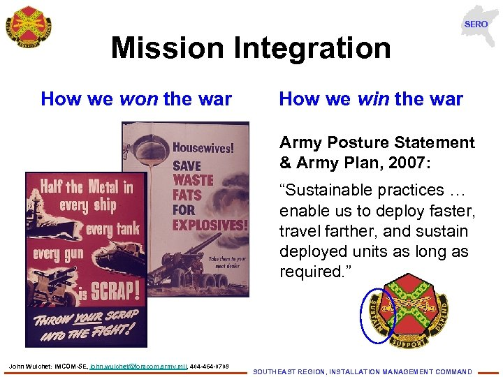 SERO Mission Integration How we won the war How we win the war Army