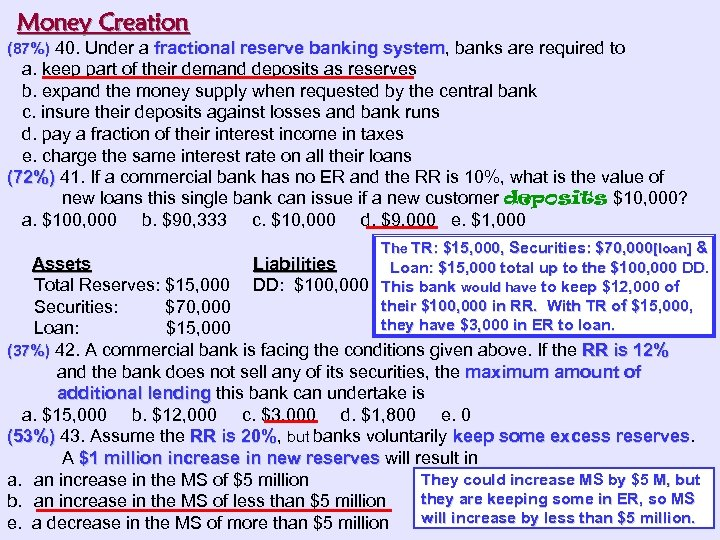 Money Creation (87%) 40. Under a fractional reserve banking system, banks are required to