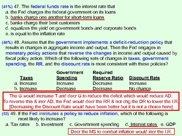 (41%) 47. The federal funds rate is the interest rate that a. the Fed