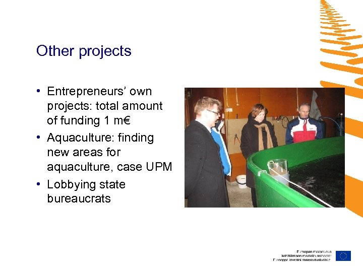 Other projects • Entrepreneurs' own projects: total amount of funding 1 m€ • Aquaculture: