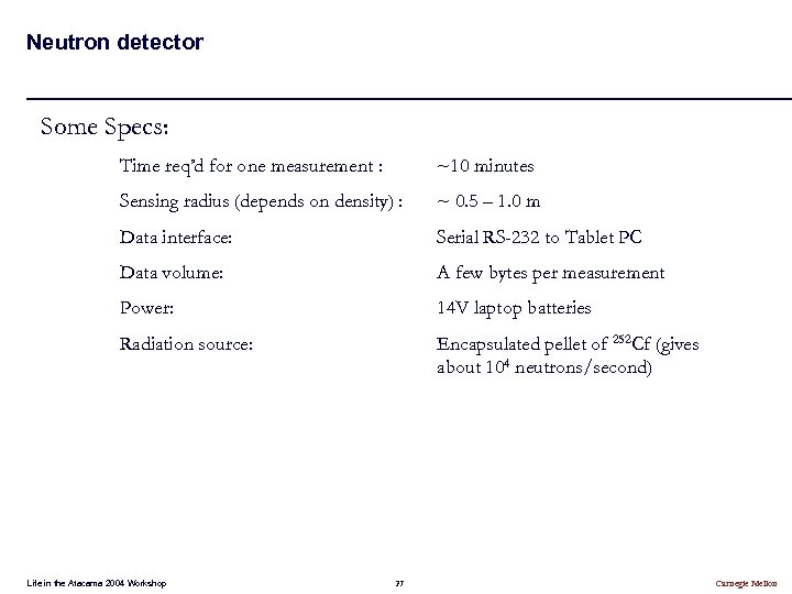 Neutron detector Some Specs: Time req'd for one measurement : ~10 minutes Sensing radius