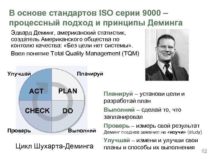 В основе стандартов ISO серии 9000 – процессный подход и принципы Деминга Эдвард Деминг,