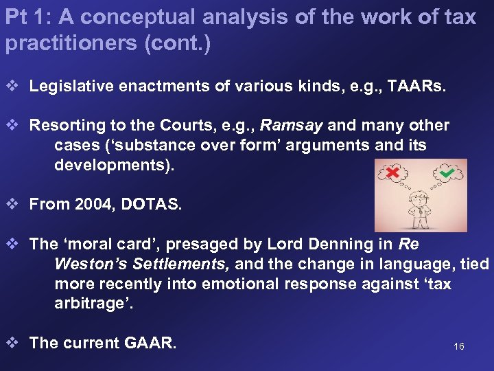 Pt 1: A conceptual analysis of the work of tax practitioners (cont. ) v