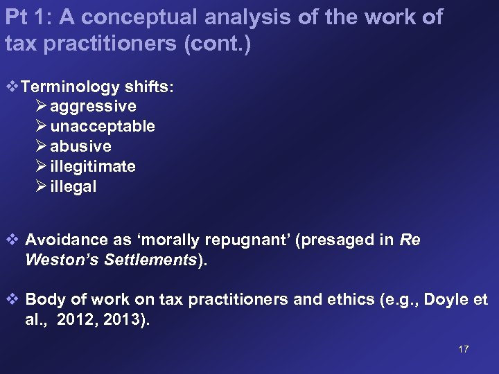 Pt 1: A conceptual analysis of the work of tax practitioners (cont. ) v.