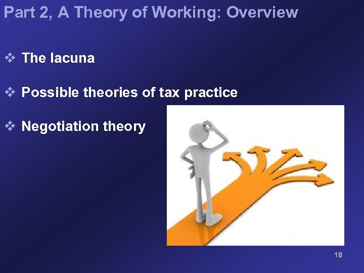 Part 2, A Theory of Working: Overview v The lacuna v Possible theories of