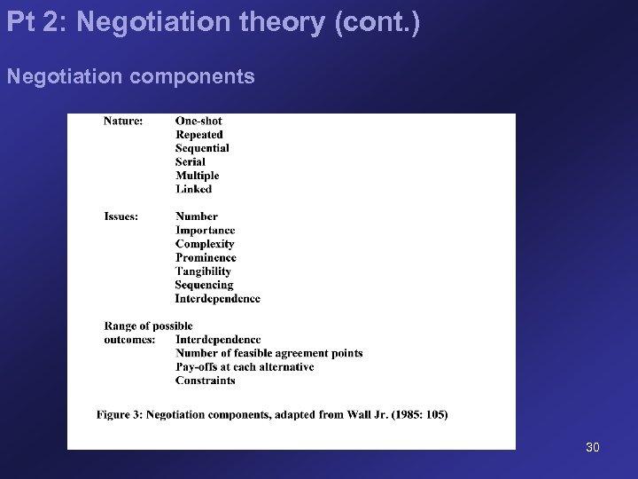 Pt 2: Negotiation theory (cont. ) Negotiation components 30
